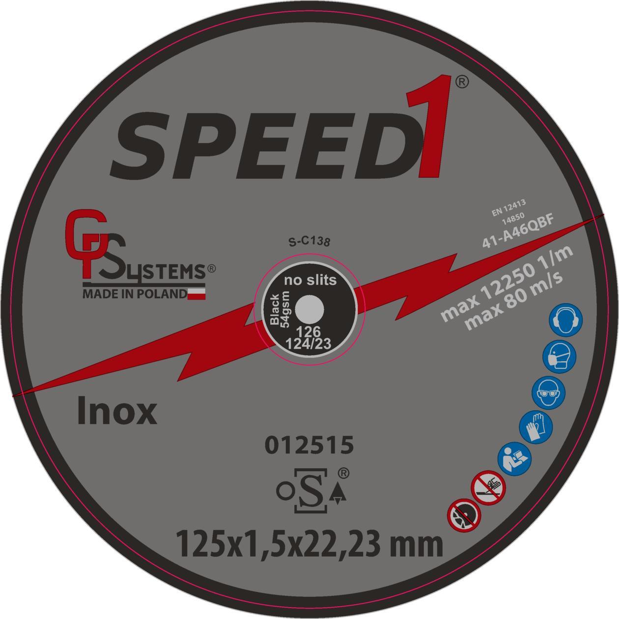 DachHolding gpsystems Speed1 - Tarcza do cięcia metal/inox 125x1,5x22,23mm
