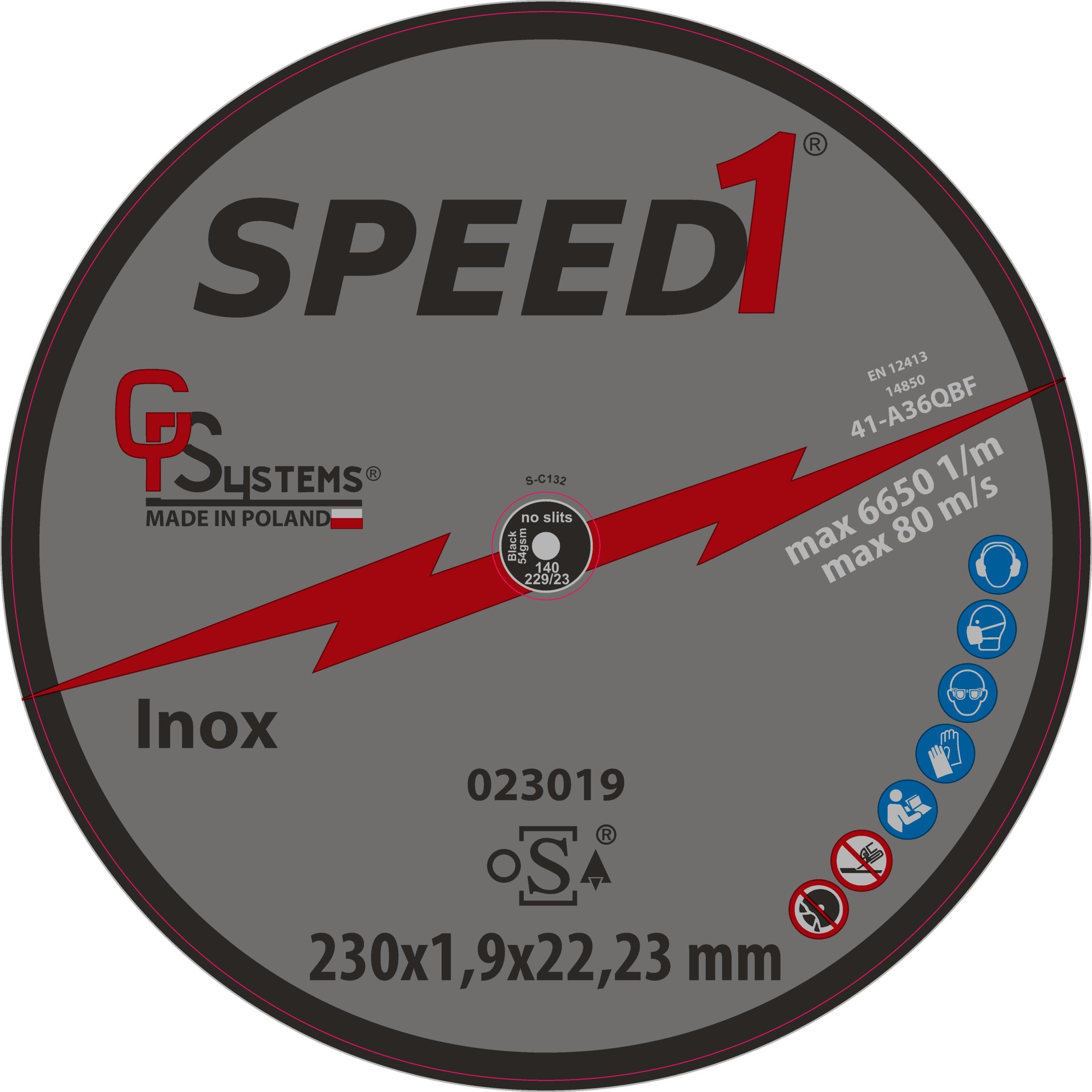 DachHolding gpsystems Speed1 - Tarcza do cięcia metalu/nierdzewki 230x1,9x22,23mm